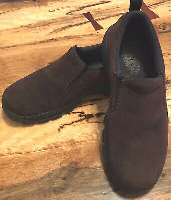 LAND'S END Women's Brown Suede Slip-ons Shoes 8B Leather uppers NEW