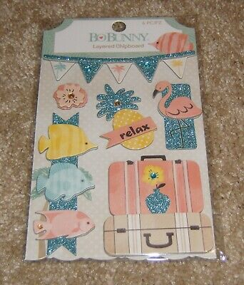 Bunny Embellishment - Bo Bunny Layered Chipboard Embellishment ~ Escape to Paradise Collection