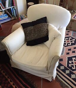 Solid armchair with cream slipcover Gordon Ku-ring-gai Area Preview