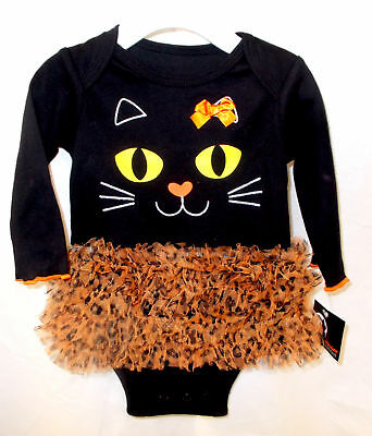 Infant Black Kitty Cat One Piece Tutu 0-3M 3-6M 6-9M - Infant Kitty Costume