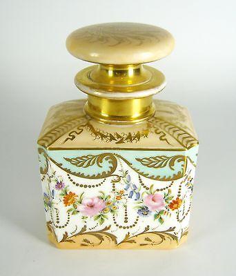 Biedermeier Porzellan Flakon / Karaffe / Teedose Handbemalt ca. 1850 RARE