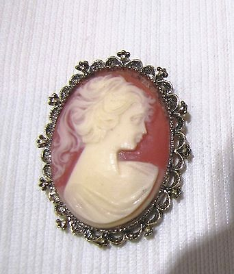 VINTAGE--CAMEO--PIN / BROOCH--PENDANT--MARKED GERRYS--2 INCHES
