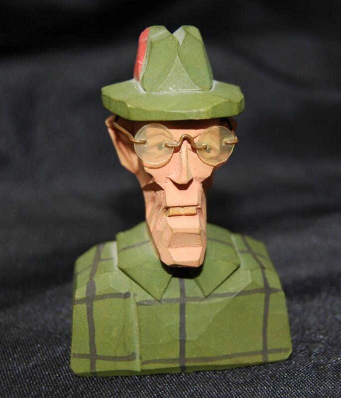 Vintage Black Forest German Carving Old Man Hat Glasses Folk Art Wooden Mini