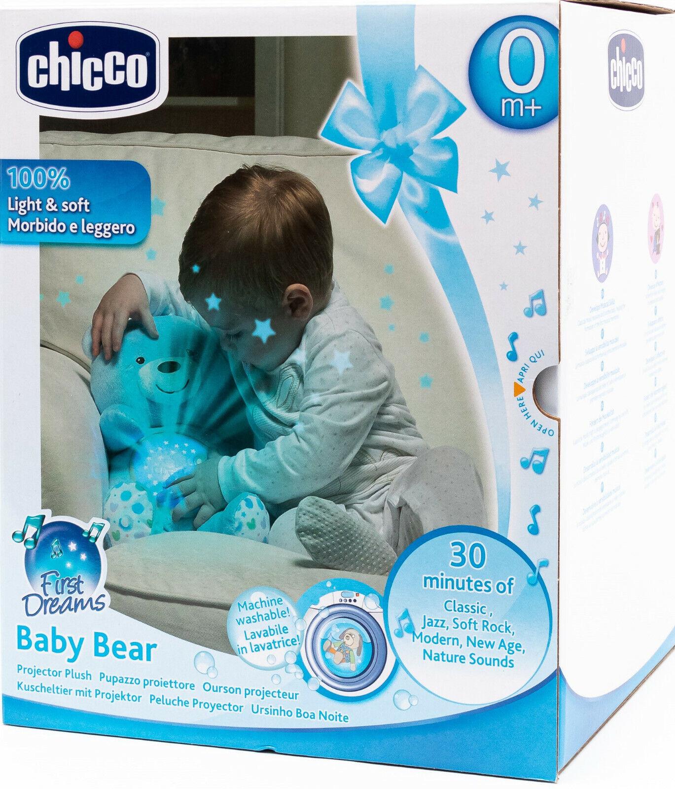 Chicco 43318 - Baby Bär mit Licht / Kuscheltier mit Projektor - Farbe: blau NEU