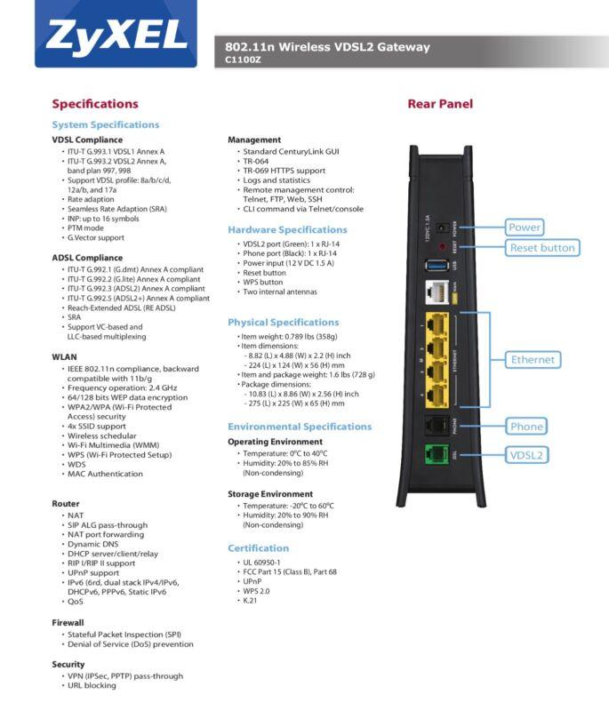 Refurbished Centurylink Zyxel C1100Z 802.11n VDSL2 Wireless Modem with Router