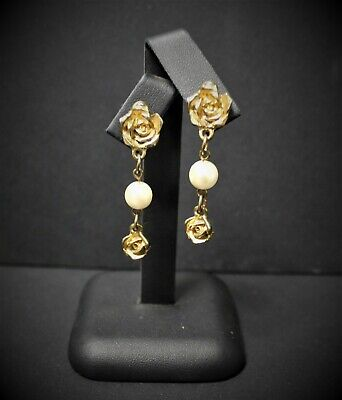 Vintage Gold Coloured Cast Rose & Pearl Drop Earrings, used for sale  Shipping to Nigeria