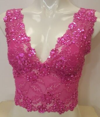 Sequinned lace fuchsia hot pink color crop top cami tank blouse hand decorated.