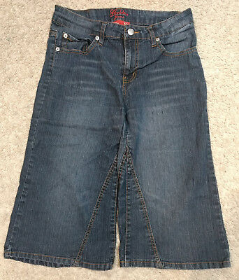 Goddess Jeans Long/Wide Denim Shorts/Gauchos/Pants-Dark Blue/Knee Length-7/8