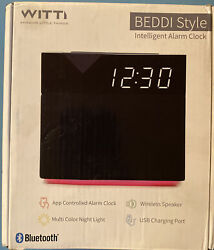 WITTI-BEDDI Style & Glow-Smart Alarm Clock-App Controlled-Bluetooth Speaker-USB