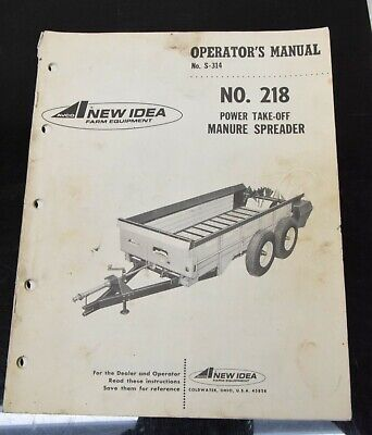 Avco New Idea No. 218 Power Take-off Manure Spreader Owners Manual S-314