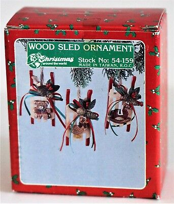 Christmas Wood Sled Ornaments Stock No. 54-159 Horse Bear Goose