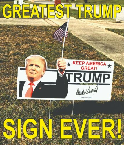 1 Trump 2020 Campaign Political Full Color Yard Sign / MAGA Keep America Great