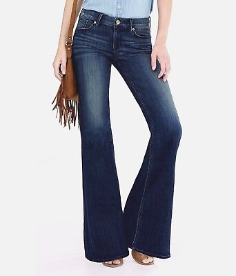 (New Express 00 R Dark Rinse Distressed Faded Mid Rise Wide Leg Flare Jeans 00R)