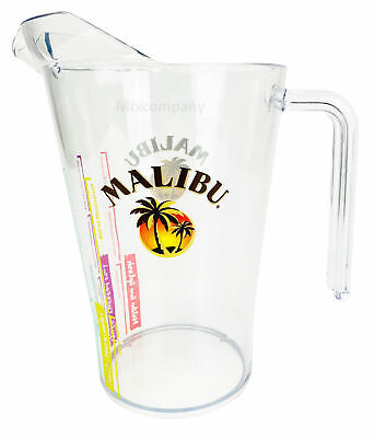 Malibu Rum Pitcher aus Kunststoff Plastik transparent mit Rezepten Cocktailkrug Cocktail-krug