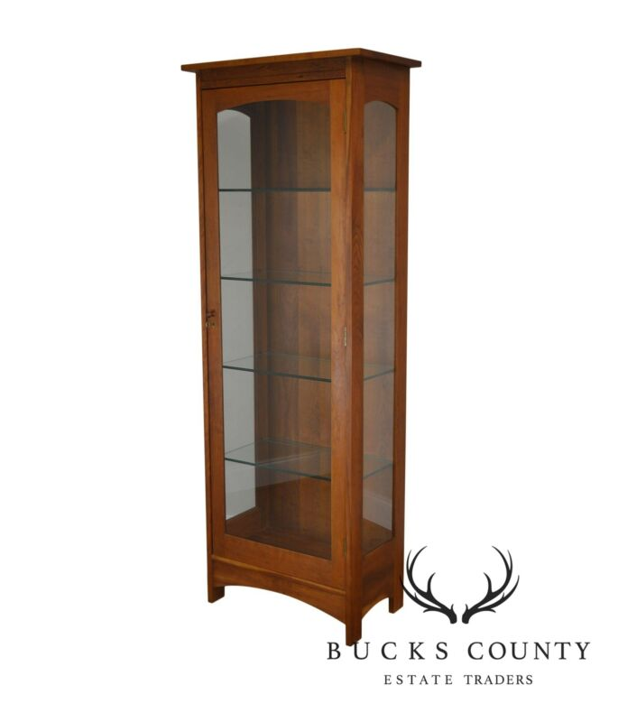 Stickley Mission Collection Solid Cherry Tall Display Cabinet