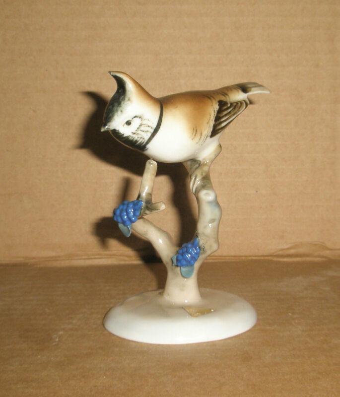 Royal Dux  Bird Figurine Crested Tit