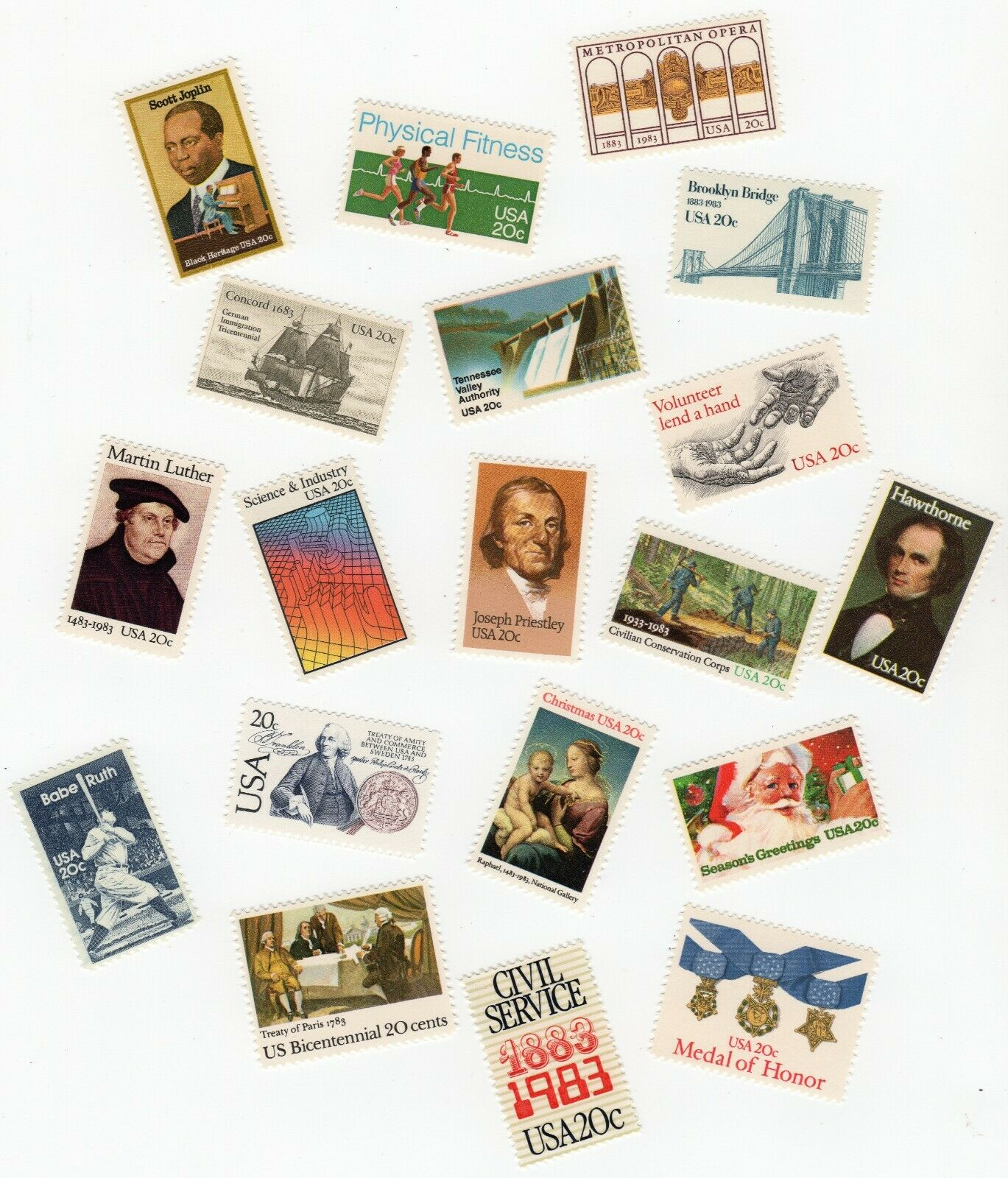 Lot Of 19 US Postage Stamps 1983 MNH 2031 2040 2041 2042 2043 2044 2045 2046... - $5.50