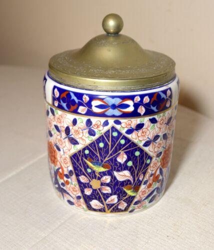 antique Royal Vienna Imari painted porcelain brass lidded biscuit cookie jar