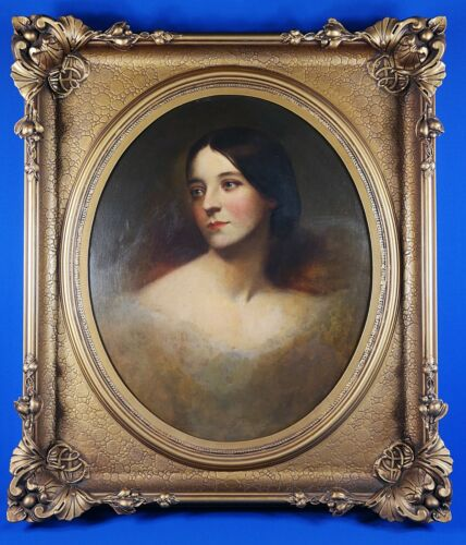 Antique Oil Painting on Board Portrait of Lady Unsigned Fine Frame