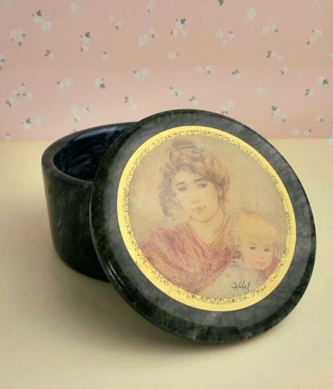 vtg Edna Hibel sentimental Mother and child series marble keepsake trinket box