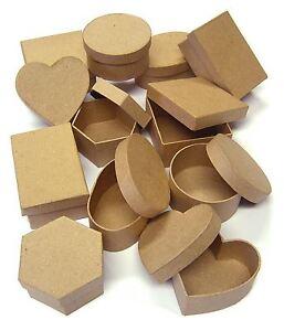 SET 12 SHAPED CRAFT BOXES SIX DESIGNS & LIDS FOR PAPER MACHE DECORATION 7070-12