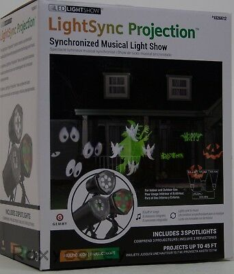 Gemmy 3 Different Light Synchronized Musical Whirl A Motion Light Show NIB - Halloween Musical Light Show