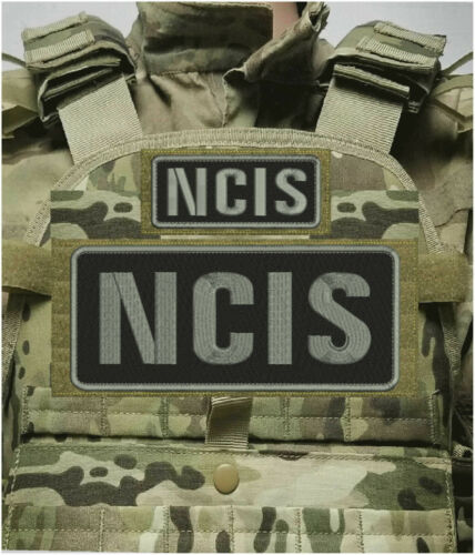 NCIS EMBROIDERY PATCH 4X10 AND 2X5 HOOK ON BACK BLK/GRAY