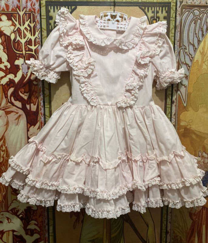 Vintage Toddler Girl Child Pink Ruffle Frilly Party Dress Lace