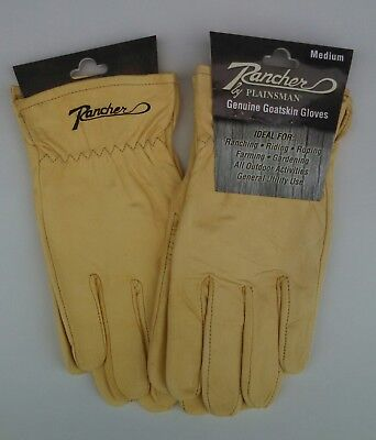 Two 2 Pairs Rancher By Plainsman Cabretta Goatskin Leather Gloves Medium New