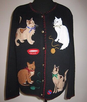 Sz S Cat Kitten Sweater Crystal Kobe Black Applique Cardigan Blanket Stitch Edge