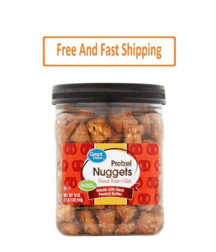 Great Value Peanut Butter Filled Pretzel Nuggets Canister, 18 oz