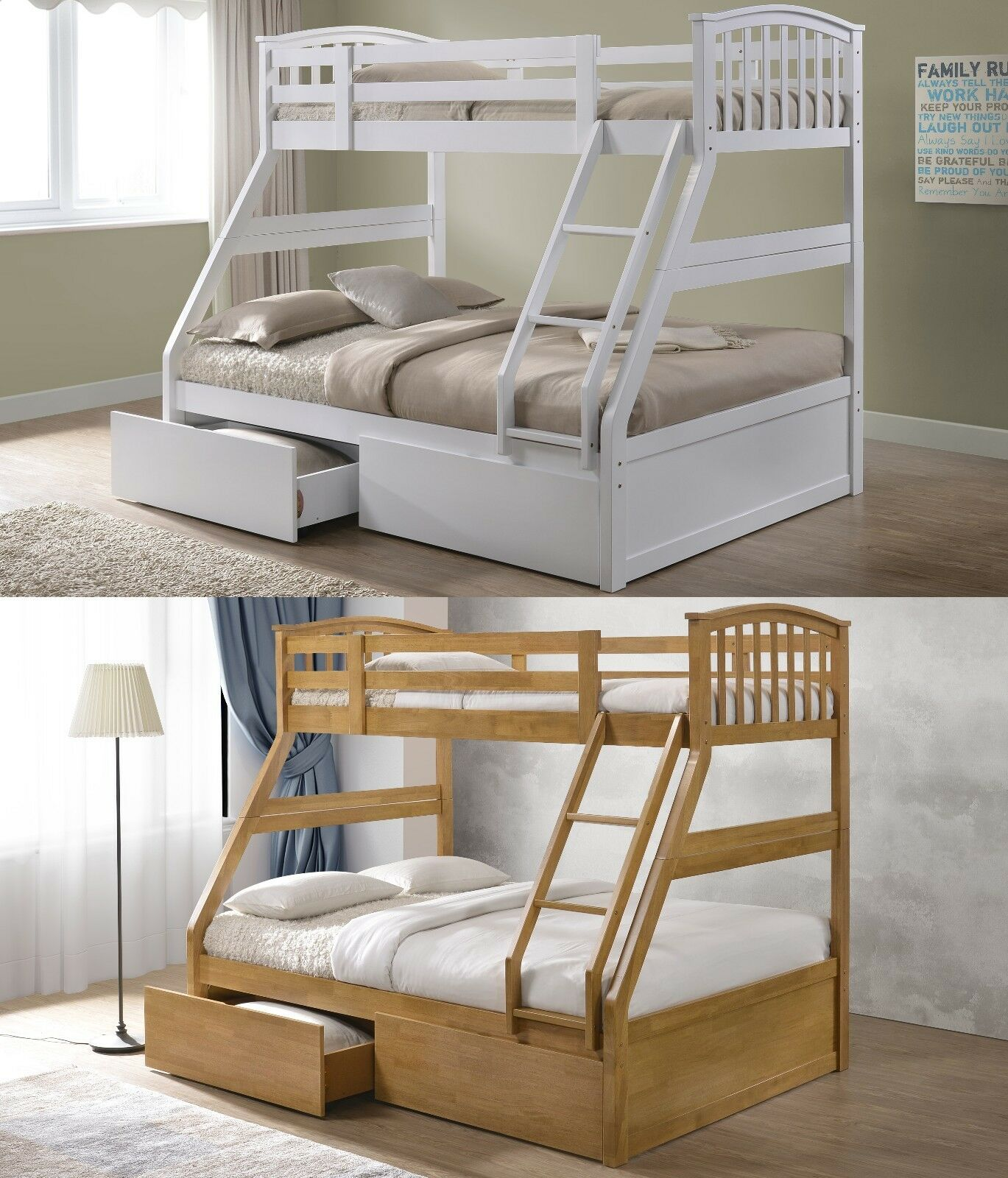 Picture of: Novara Solid Wood Triple Sleeper Bunk Bed Frame 2 Drawers Various Colours Ebay