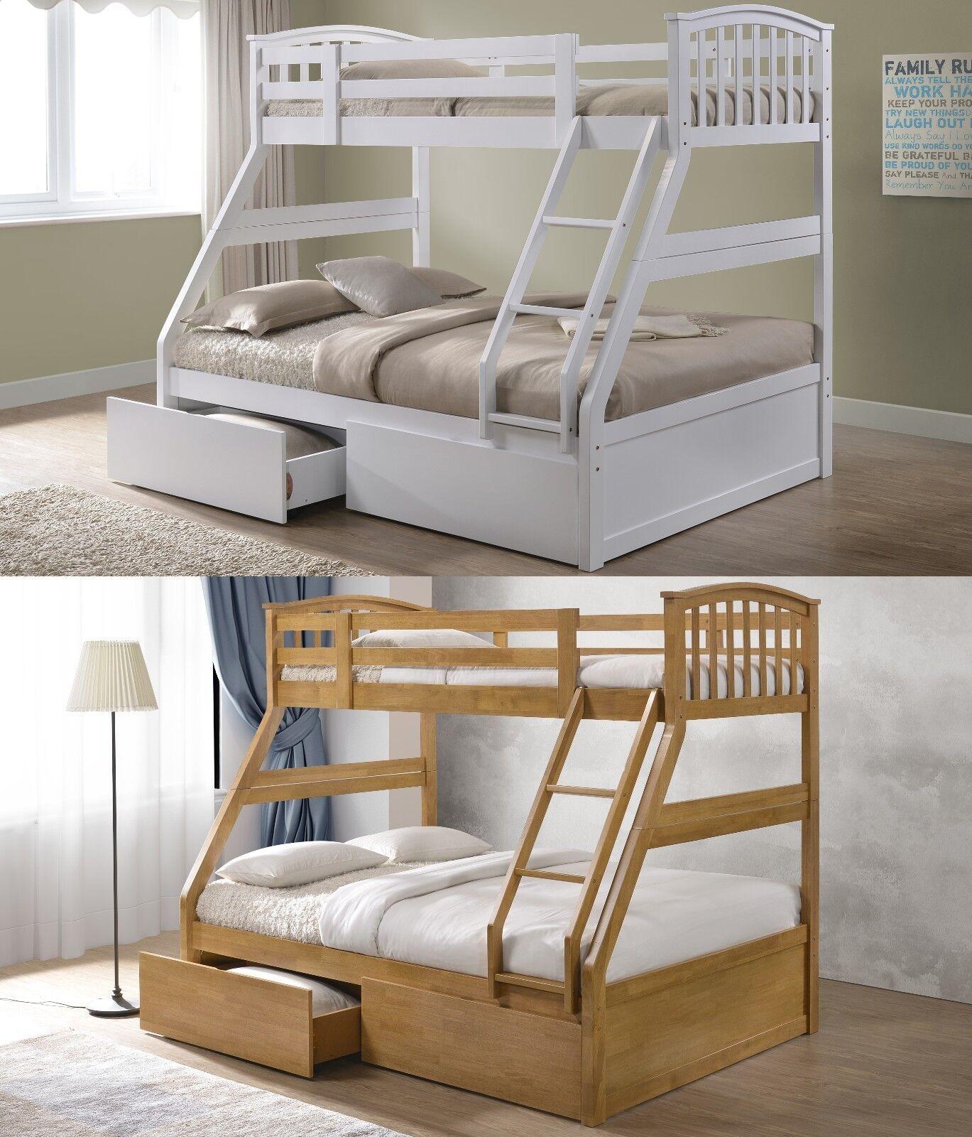 Novara Solid Wood Triple Sleeper Bunk Bed Frame 2 Drawers Various