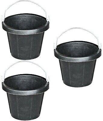 3 Pack 2.5 Gallon 10 Quart Rubber Feed Buckets No Crush Livestock Sheep Goat Pig