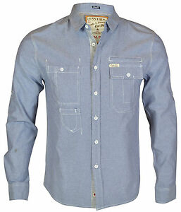New Soul Star Men's Check & Plain Long Sleeve Shirt Blue Grey Navy Top S M L XL