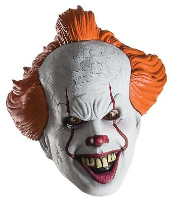Pennywise Halloween Mask (Pennywise It Movie Scary Clown Adult Mens 3/4 Mask for Halloween)
