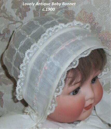 Antique Baby Bonnet/Hat/Lawn/Lace/Embroidery/c.1900/Compo/Composition Baby Doll