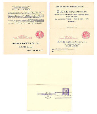 3 Paid Reply Postal Cards UY11 Preprinted Advertising Used UY17 FDC Folded
