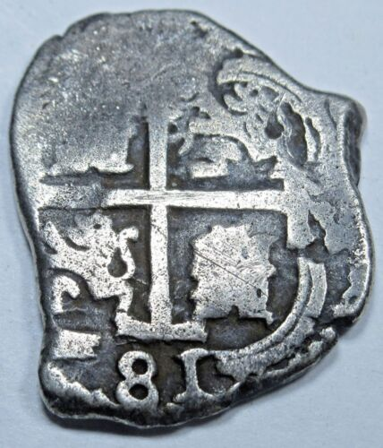 1681 VF Potosi Spanish Silver 1 Reales Piece of 8 Real Colonial Pirate Cob Coin