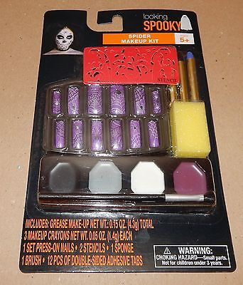 Halloween Makeup Kit Looking Spooky Grease Spider With Stencils Press Nails 116V