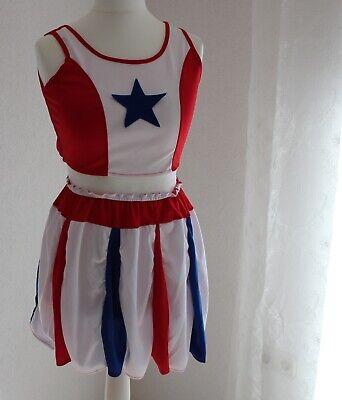 Cheerleader Kostüm Gr. M rot weiß blau Rock und Bustier Karneval Sportfest
