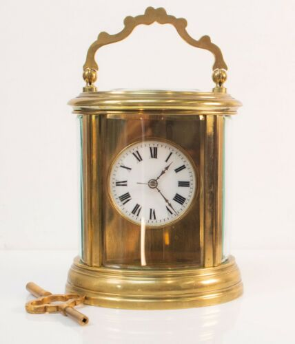 Antique French Brass Oval Carriage Clock circa 1880 with Striking movement