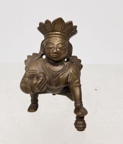 Antique Vintage Bronze Brass Miniature Baby Deity Figure Statue