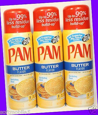 Fat Free Butter Spray - 3 PAM Rich Buttery BUTTER Flavor Non-Stick Cooking Spray Fat-Free Cooking