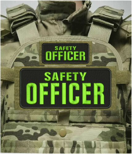 SAFETY OFFICER EMB PATCH 4X10 and 2 x 5 hook on back BLACK/LIME GREEN