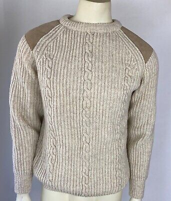 Brenire Scotland Mens Sweater Beige Wool Elbow Patches Cable Knit Fisherman L ?