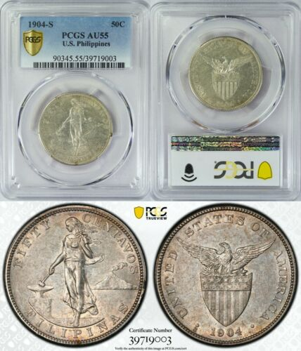 1904-S US/Philippines 50 Centavos ~ PCGS AU55 ~ Silver ~ Allen#13.03 ~ 003