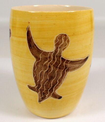 ESSEXWARE Vtg Australian Pottery Aboriginal Art TURTLE Island RARE Cup Vase