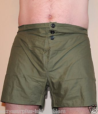 British Army Green Boxer Shorts briefs size 4 Waist 36in to 40in each E077