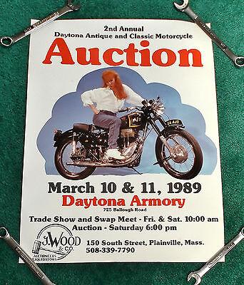 NOS 1989 DAYTONA BIKE WEEK MOTORCYCLE POSTER 1954 AJS JAMPOT TRIUMPH BSA